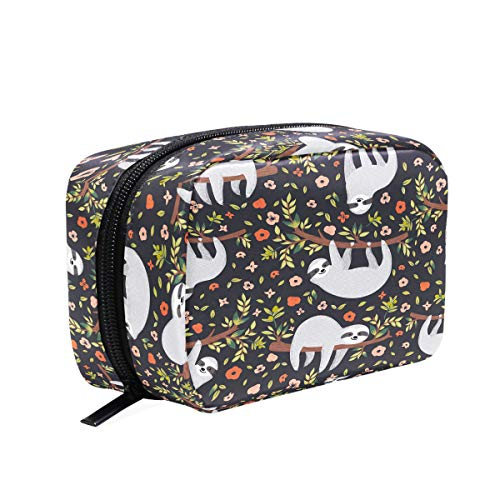 Baby Sloth Flowers Makeup Bag Cosmetic Bag Toiletry Travel Bag Case for Women, Cartoon Animal Portable Organizer Storage Pouch Bags Box