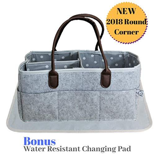 Beau & Friends Large Baby Diaper Caddy Organizer | Baby Registry | Nursery Changing Station Organizer Bag | Portable Car Travel Tote | Newborn Boy Girl Baby Shower Gift | (Round) ()