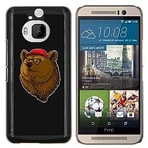 EJOOY---Cubierta de la caja de protección para la piel dura ** HTC One M9Plus M9+ M9 Plus ** --Retrato del oso de Brown Animal Bosque Gafas de Red Hat