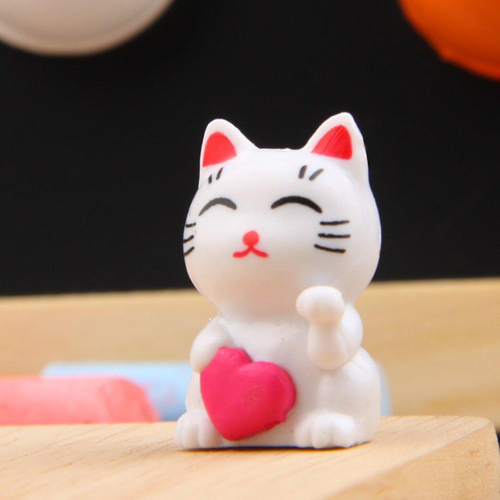 Hearsbeauty Fortune Simpatico Gatto in Miniatura Paesaggio Ornamenti da Giardino Bonsai Decorazioni
