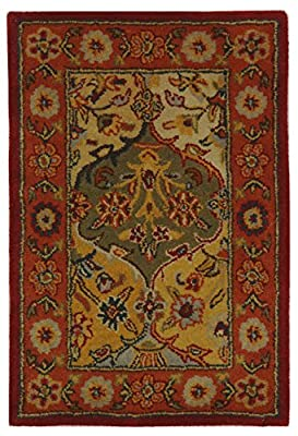 Safavieh Heritage Collection HG510A Handmade Traditional Oriental Multi and Navy Wool Area Rug