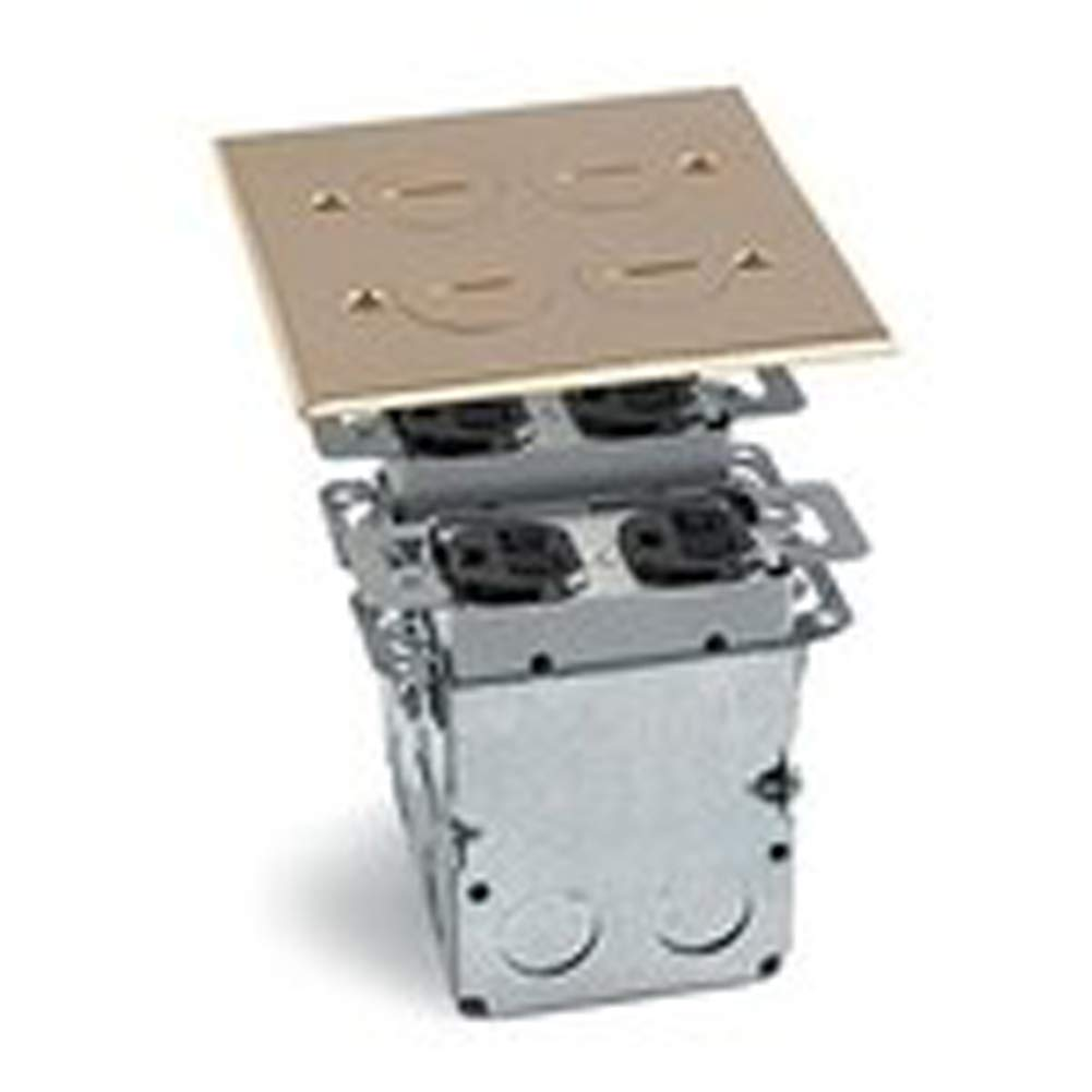 Lew LEWSWB4 Floor Box Assembly, Includes Duplex Receptacle, Brass Floor Plate