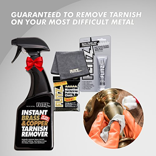 Flitz BC 01806 Instant Brass and Copper Tarnish Remover 16 oz Spray Cleaner + 1.79oz Metal Polish Paste + EXTRA LARGE Microfiber Cloth Shine Away Corrosion by Flitz (Image #4)