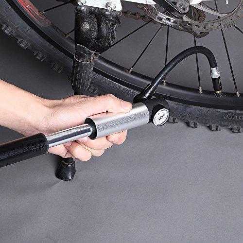 WOLFWILL tragbar Fahrrad Luftpumpe Mini Pumpe mit Manometer 210 PSI Gauge