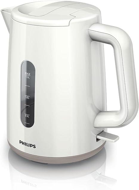 Philips HD930900 Bouilloire Daily BlancBeige, 2400 W, 1,5 L, Fond Plat, Socle 360°, Double Niveau d'eau