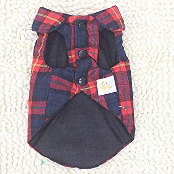 BBEART Pet Clothes England Plaid Double Layer Flannel T-Shirt Autumn Winter Warm Dog Clothes for Small or Medium Pet Dogs Clothing Chihuahua Yorkshire Poodle Apparel Costumes
