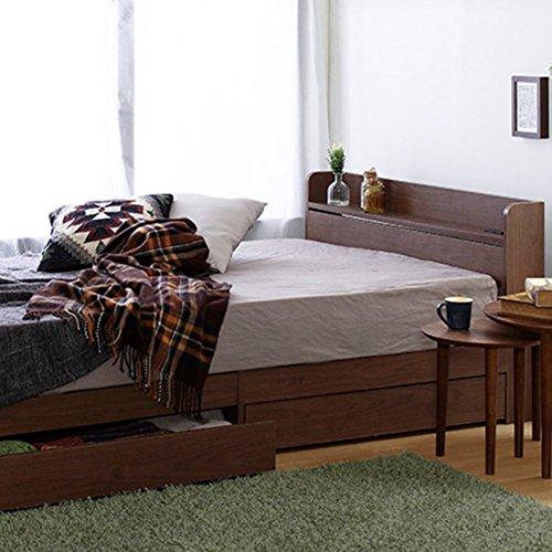 [セミダブル] ウォールナット 収納ベッド 【フレームのみ マットレス無し】 棚2口コンセント付き B07DHKG35Y