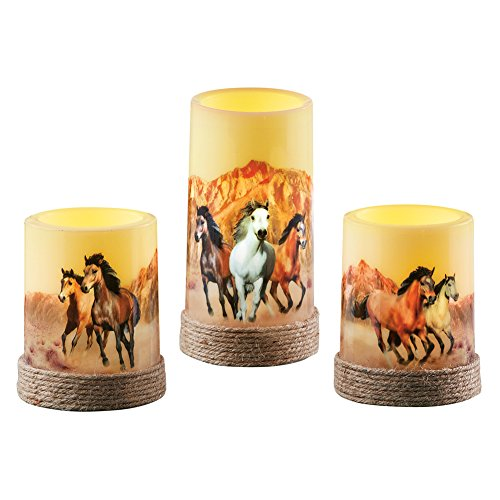 Kitchen Decor Horse (Collections Etc Majestic Horses LED Flameless Candle Set, Wild Galloping Horses Home Décor, Flickering, 3 Pc)