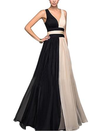 Engood Womens Stitching Sleeveless V Neck Semi Formal Maxi Dress