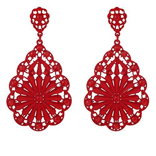 [Usstore 1Pair Women's Hollow Flower Rhinestone Stud Earrings Jewelry (Red)] (70s Costumes Amazon)