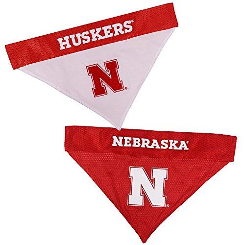 Nebraska Cornhuskers NCAA Mesh & Premium Embroidery Dog Reversible Bandana (Nebraska Cornhuskers, Large/X-Large 14.5