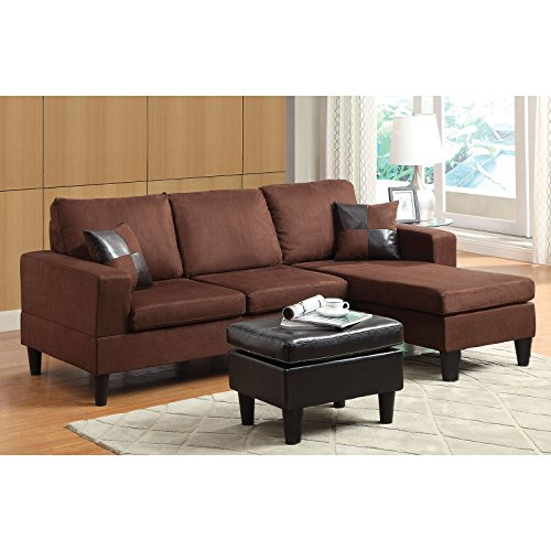 Custom Sectional Wood Frame - Reversible Sectional Sofa with Ottoman & 2 Pillows, Clean-Lined Seat and Back Cushions, Loose Seats Cushions, Track Arms and Tapered Plastic Legs, Chocolate Microfiber & Espresso PU + Expert Guide