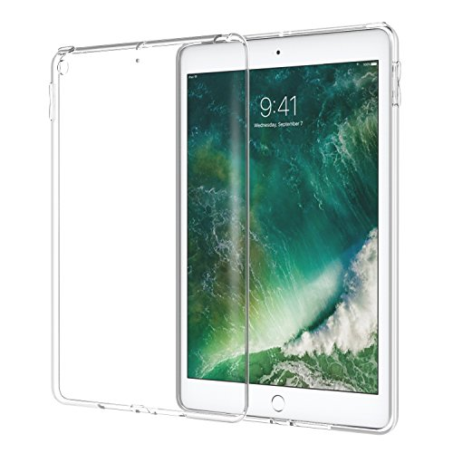 Case Generation Rubber Crystal (Atic Fit 2018/2017 iPad 9.7 6th/5th Generation - Premium Soft Skin Flexible Bumper Transparent TPU Rubber Back Cover Protector Fit Apple iPad 9.7 Inch 2018/2017, Crystal Clear)