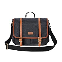 ZLYC Unisex Vintage Removable Padded Insert Genuine Leather and Canvas Camera Messenger Bag for DSLR Camera and Lens, Dark Grey