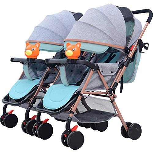 Baby Twin Stroller, Folding Tandem Pushchair Double Rotation Two-Way Split Sit and Lie Light Baby Umbrella Car Twins Pram for Newborn (Color : Gray)