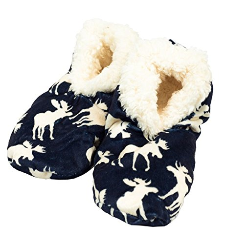 Moose Lazy Women's Fuzzy One Feet Classic Slippers Blue qtaFprwt