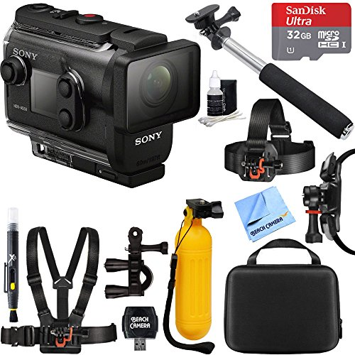 Sony HDRAS50R/B Full HD Action Cam + Live View Remote Bundle + 32GB Outdoor Adventure Mounting Bundle by Beach Camera