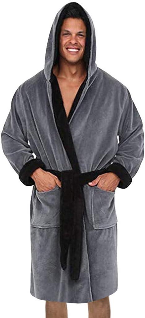 JINLILE Peignoir Homme Manteau De Pyjama De V/êTements /à Allong/é Hiver Ch/âLe Peignoir /à La Maison Grande Taille Polaire Peignoir /à Capuche sous-V/êTements Pyjamas Pas Cher Lingerie
