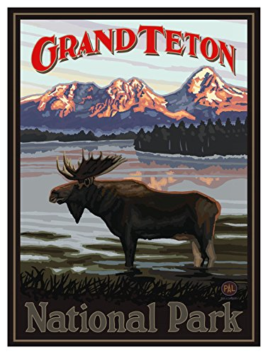 Grand Teton National Park Moose in Lake Travel Art Print Poster by Paul A. Lanquist (9