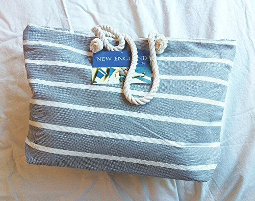 Tobs Beach Bag Or Tote Day Pinstripe, Gray And Soft Cream, Zip-top, New Season
