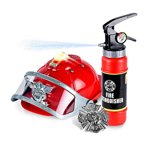 WolVol Firefighter Hat with Lights and Sirens - Well-Made Plastic Costume Hat with Badge & Extinguisher - Aids Kinesthetic Learning & Development for Boys & Girls]()