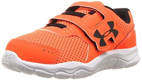 Under Armour Boys' Infant Engage 3 Adjustable Closure Sneaker, Blaze Orange (800)/White, 7K -
