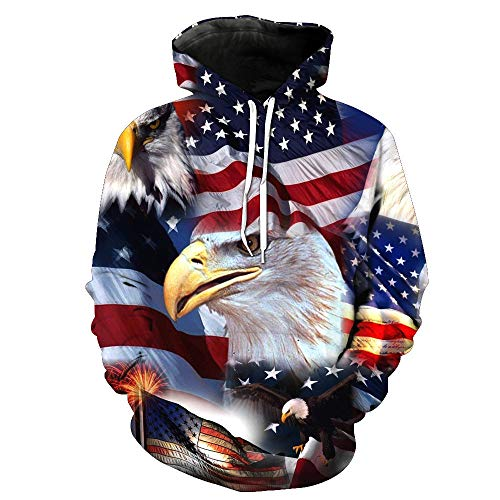 Realdo Mens Bald Eagle Hoodie Clearance Sale,Mens American Flag Print Pullover Sweatshirt Top Big Promotion(Large,Blue)