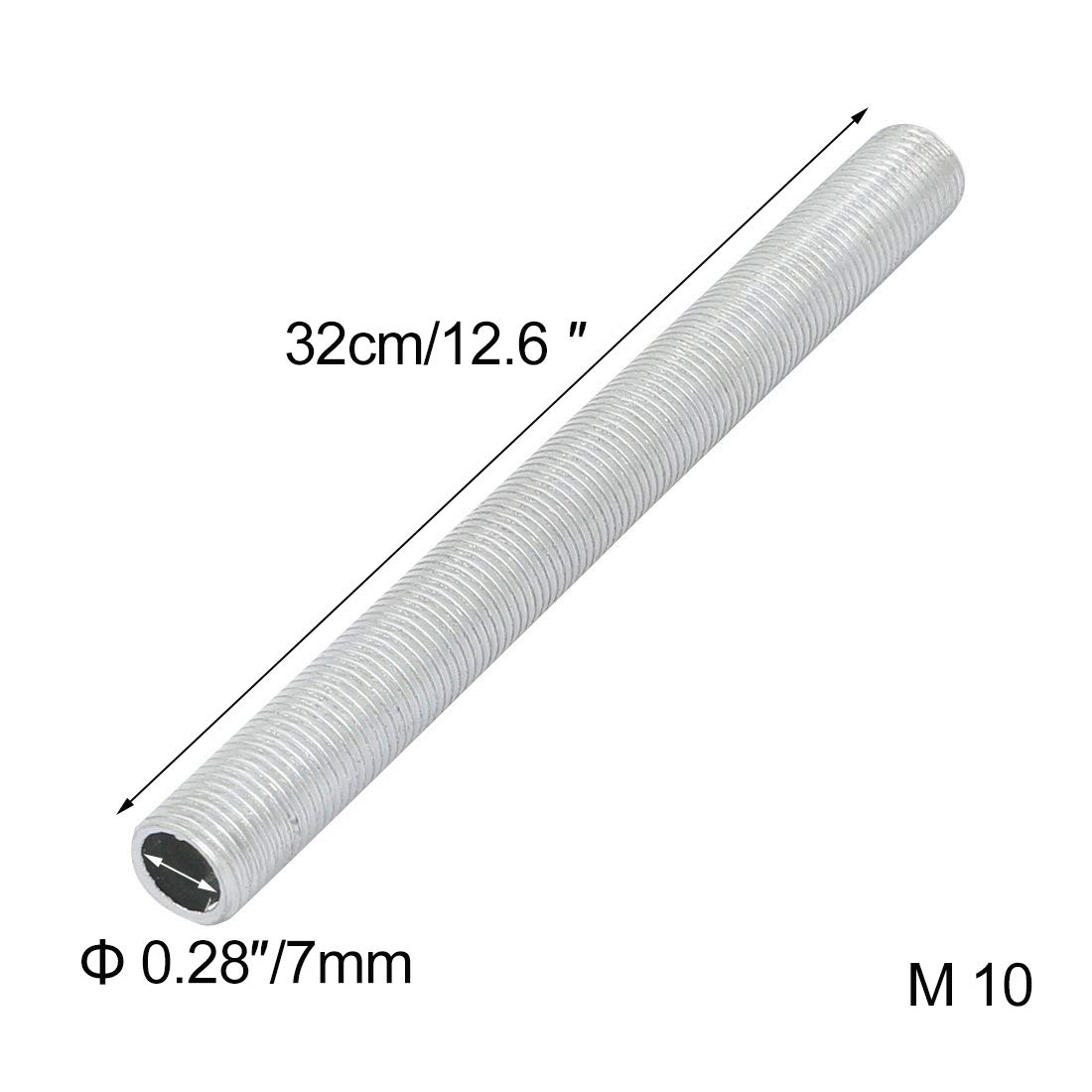 ANYE 5 Pcs M10 Full Threaded Lamp Nipple Straight 12.6''(L) Pass-Through Pipe Connector DIY PJ0021-32CMx5