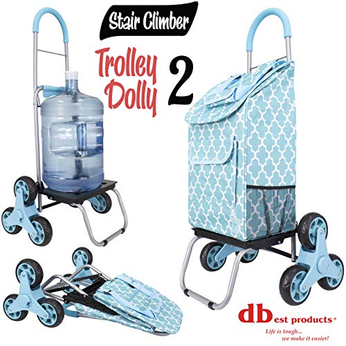 dbest products Stair Climber Trolley Dolly 2, Moroccan Tile  Shopping Grocery Foldable Cart Condo Apartment