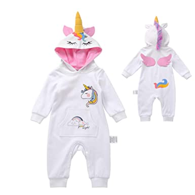 d784894f8 Amazon.com: Hooded Infant Unicorn Onesie, Pajamas, Romper, Bodysuit, Unicorn  Costume: Clothing