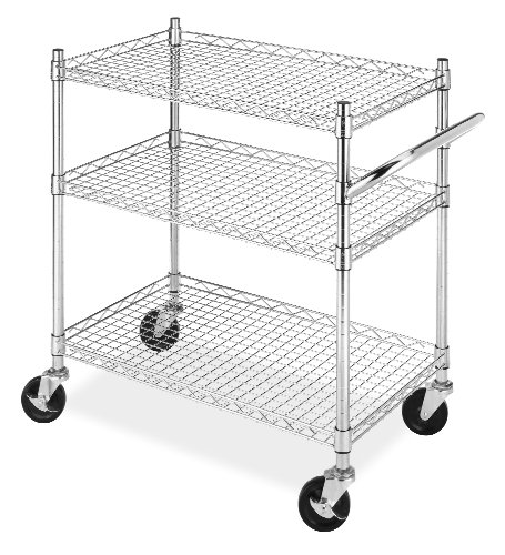 (Whitmor Rolling 3-Tier Commercial Cart Chrome)