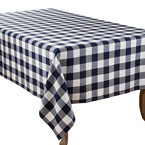 - Fennco Styles Buffalo Plaid Collection Classic Checked Cotton Blend Tablecloth - Navy Blue 70 x120 Inch Tablecloth for Banquets, Christmas, Special Events and Home Décor