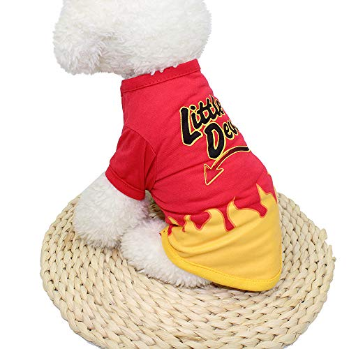 OOEOO Halloween Dog Clothing, Little Devil T Shirt Puppy Costume -