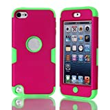 Lantier For iPod Touch 5 Case,Hybrid 3 Layers Hard Cover with Silicone Shell Inside Case Plastic TUFF Camo Triple Quakeproof Drop Resistance Protective for iPod Touch 5 5th Generation with Screen Protector and Stylus Pen K-Hot Pink/Green