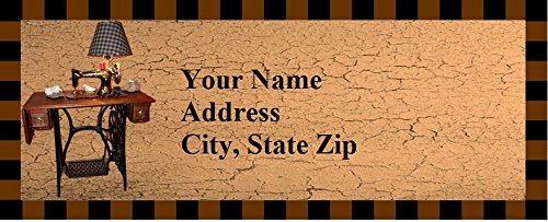 120 Personalized Address Labels Primitive Country Sewing Machine (c (Sewing Address Labels)
