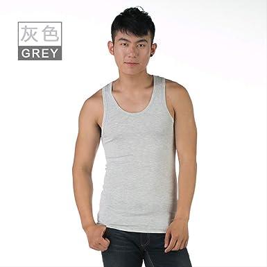 Chaleco para Hombre de Color Liso algodón Transpirable Que Absorbe el Sudor Camiseta Deportiva sin Mangas Camiseta Hombre XL Gris: Amazon.es: Ropa y accesorios