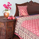India Rose ~ Luxury Pink Floral Indian Sari Print King Bedspread 108x90