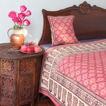 India Rose ~ Luxury Pink Floral Indian Sari Print King Bedspread 108x90 (Tea Rose Bedspread)