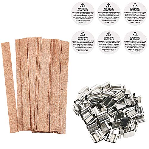 (Wood Candle Wicks, Benbo 50 Pieces Smokeless Natural Wood Wick with Iron Stand Environmentally Friendly Candle Cores for DIY Candle Making Craft 13 X 1.3 cm)
