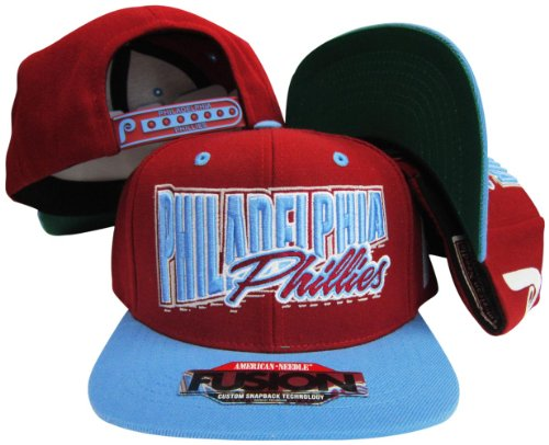 (American Needle Philadelphia Phillies Maroon/Light Blue Fusion Angler Snapback Hat/Cap )