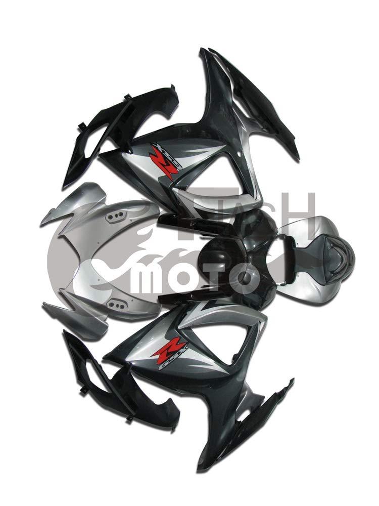 FlashMoto suzuki 鈴木 スズキ GSX-R600 GSX-R750 K6 2006 2007用フェアリング 塗装済 オートバイ用射出成型ABS樹脂ボディワークのフェアリングキットセット (ブラック,シルバー)   B07MGRBR5C