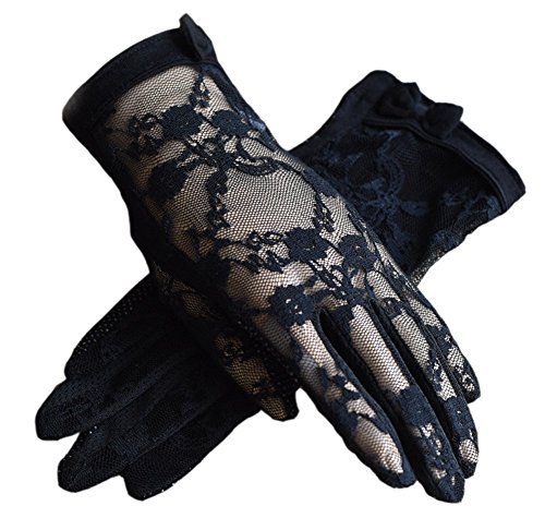 Hair Style 1950 (Urban CoCo Vintage Spring and Summer Women's Lace Cotton Short Gloves (Black-model)