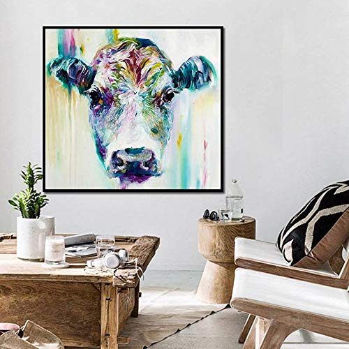 BFY Frameless Modern Abstract Oil Painting Female Ox-head Huge Wall Decor Art On Canvas by BFY (Image #1)