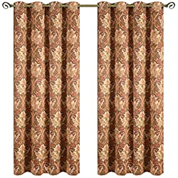 Kotile Paisley Floral Print Thermal Insulated Blackout Curtains, 2 Panels 63 Inch Length Grommet Soft Room Darkening Curtain with Fabric Digital Printing Polyester, Perfect for Bedroom, Yellow