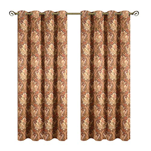 Kotile Grommet Top Blackout Curtains with Boho Paisley Pattern Design Print, 2 Panels Thermal Insulated Plant Leaves Fern Luxurious Soft Window Panels for Living Room (W52 X L84 Inches, Yellow) (Window Panel Paisley)