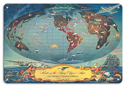 Tin Sign Flying (Pacifica Island Art 8in x 12in Vintage Tin Sign - Routes of The Flying Clipper Ships - Pan American World Airways (PAA) - Wings of Democracy by L. Helguera)