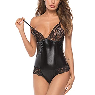 10b21bbf4 Sunyastor Womens Lingerie Babydoll Dress Lace Leather Underwear Hollow Sexy  Siamese Sleepwear Playsuit Chemise Dress M-4XL at Amazon Women s Clothing  store