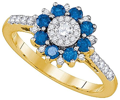 3/4 Total Carat Weight BLUE DIAMOND FASHION RING 0.15 Total Carat Weight