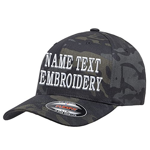 Custom Embroidery Hat Personalized Flexfit 6277 Text Embroidered Baseball Cap - Black Multicam Camo