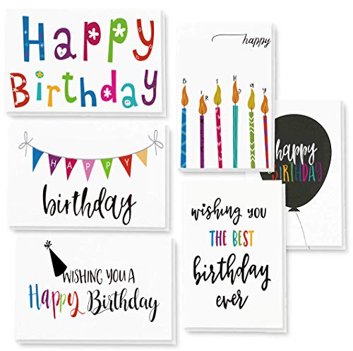 Birthday Cards, 48 Bulk Happy Birthday Cards, Assorted Birthday Cards with Envelopes and Seals, Anniversary Congratulations Cards 4 x 6 inch Handwritten Creative Colorful Design Blank on the Inside